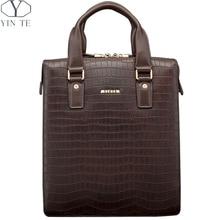 YINTE Men's Handbag Casual Briefcase Business Genuine Leather HandBag Men's Messenger Totes Brown Bag Crocodile Prints T22943