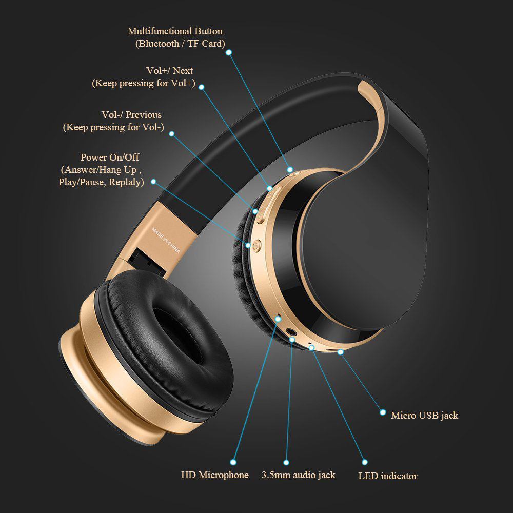 Bluetooth Headphones Wireless Earphones Stereo Bass Headset Earbuds Foldable Sport Earphone With Microphone MP3 Player