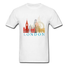 London Metropolis Silhouette Souvenir T Shirt Graphic Round Neck Cotton College Student T Shirt Travel Funny T Shirts Men(China)