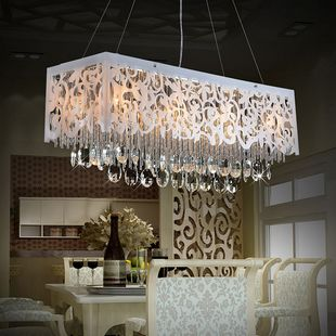 Modern Fashion Cutout Carved Led Restaurant Lights Rectangle Crystal Lamp Dining Table Bar Pendant Light