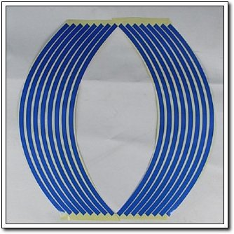 "Lot 10 REFLECTIVE Rim Stripe Wheel Decal Sticker Blue Effect 16"" 17"" 18""  4 Colors FOR CAR AND MOTORCYCLE"