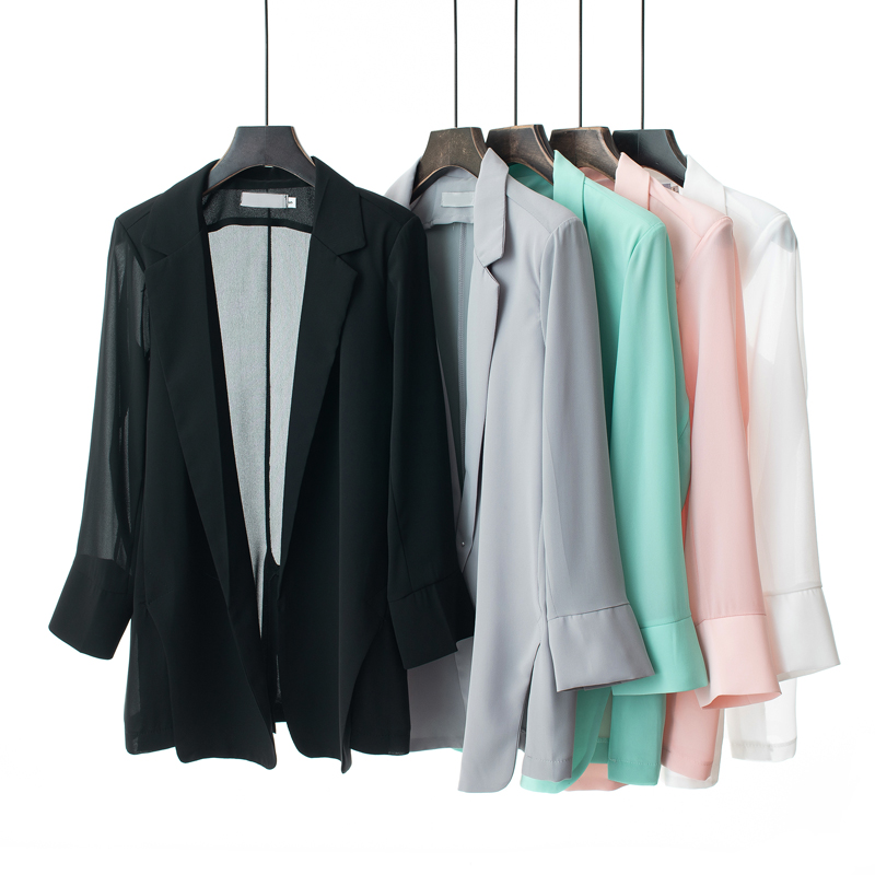 New Formal Solid Chiffon Blazer Women Office Wear Notched Blazer Summer Open Front Slim Thin Outerwears Casaco Female Tops Mw334