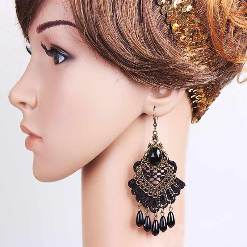 ใหม่แฟชั่นโกธิคยุคกลาง Retro Black Lace Dangle ต่างหู Elegant Party Drop เครื่องประดับต่างหูผู้หญิง