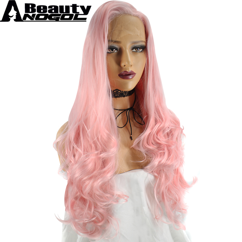 ANOGOL BEAUTY High Temperature Fiber Peruca Perruque U Part Frontal Pink Wigs Long Body  ...