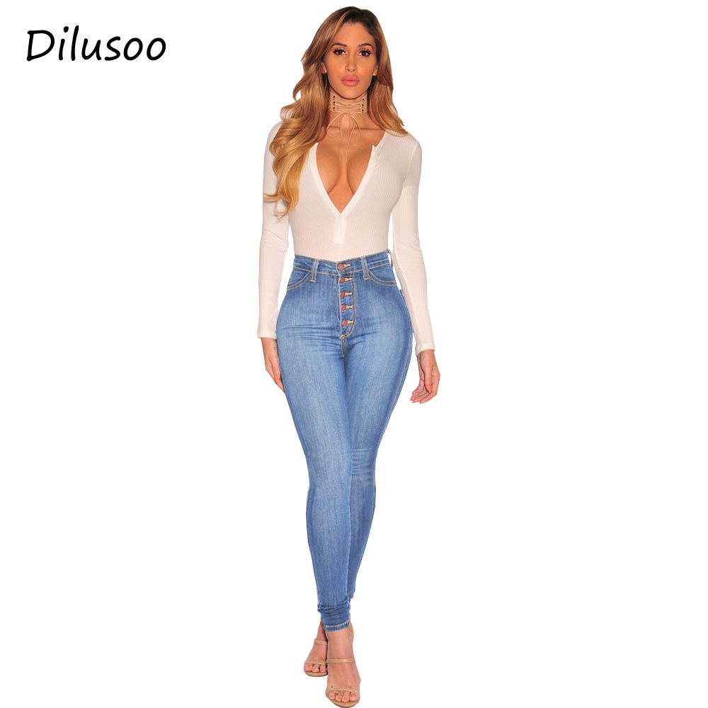 Dilusoo Women High Waist Denim   Jeans   High Elastic Cowboy Pencil Pants Full Length Trousers Europe America   Jeans   Denim Casual
