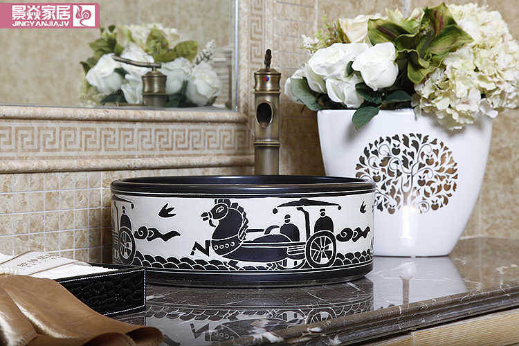 Фото Oriental Art hand carved ceramic porcelain wash basin bathroom sink
