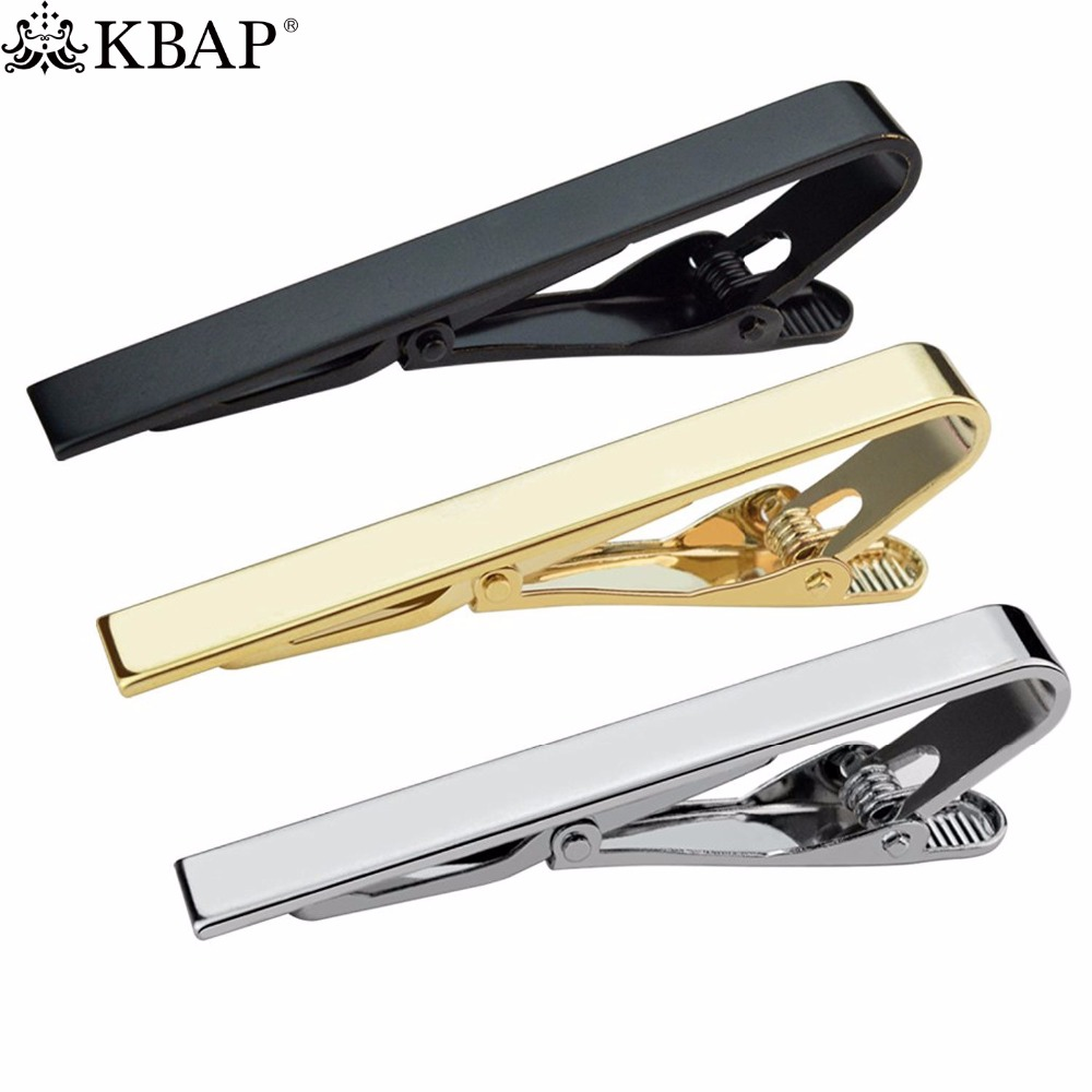 все цены на KBAP Men's Classic Metal Tie Clip Clamp Black Gold Silver Tie Clip Neck Tie Bar Clasp Wedding Business Favor Gifts онлайн