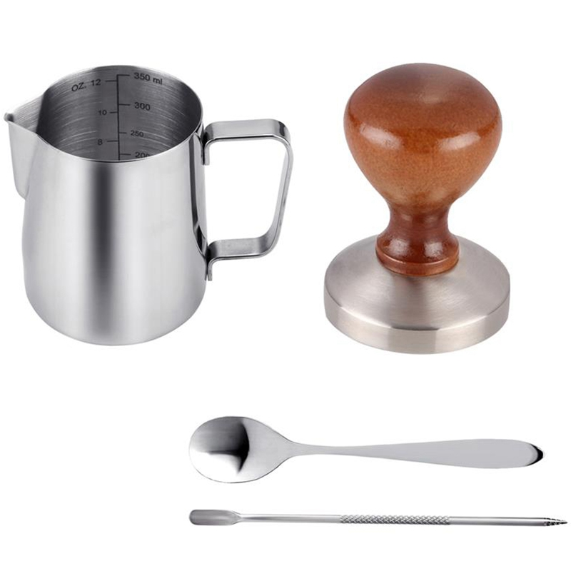 Hot sale 4Pcs Coffee Accessories 58Mm Stainless Steel Coffee Tamper With 12Oz Frothing Pither And Coffee Spoon And Latte Art P