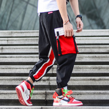 American Street Style Fashion Men's Pants Multi Pockets Cargo Pants Hip Hop Trousers Men Spliced Black Camouflage Jogger Pants