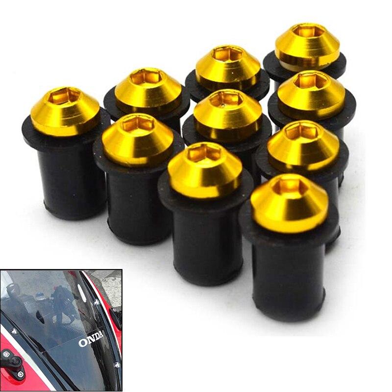 10pcs 5mm Motorcycle Windscreen Windshield Screw Kit Nuts Bolt for Honda cbr 600 rr For suzuki gn250 gn125 sv650 gsxr 750 dl650
