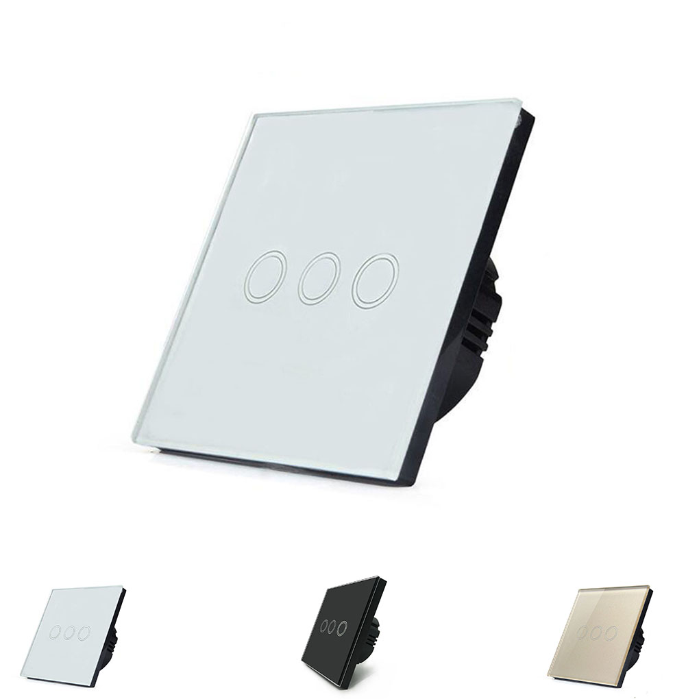 Smart Wall Touch Switch Light Panel EU Touch On/Off Sensor 3 Gang 1 Way Waterproof 110V-240V Controller Wall Touch Switch smart home us au wall touch switch white crystal glass panel 1 gang 1 way power light wall touch switch used for led waterproof