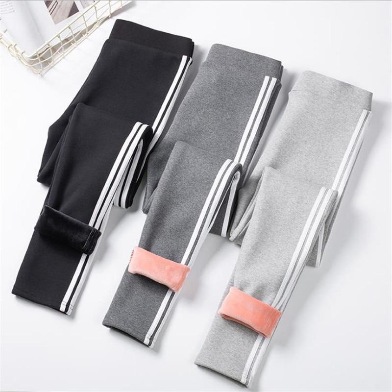 Korean Women High Waist Winter Fleece Leggings Fashion Side Striped Thicken Warm Velvet High Stretch Slim Leggings Pants CM984