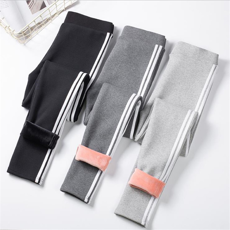 Korean Women High Waist Winter Fleece   Leggings   Fashion Side Striped Thicken Warm Velvet High Stretch Slim   Leggings   Pants CM984