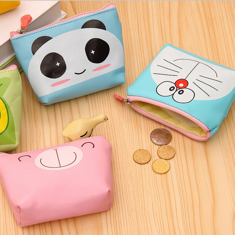Cartoon Cute Kids Children Mini Coin Purse Zipper Zero Wallet Women PU Leather Money Key Holder Pouch Wallets Bag 2017creative cute cartoon coin purse key chain for girls pu leather icecream cake popcorn kids zipper change wallet card holder