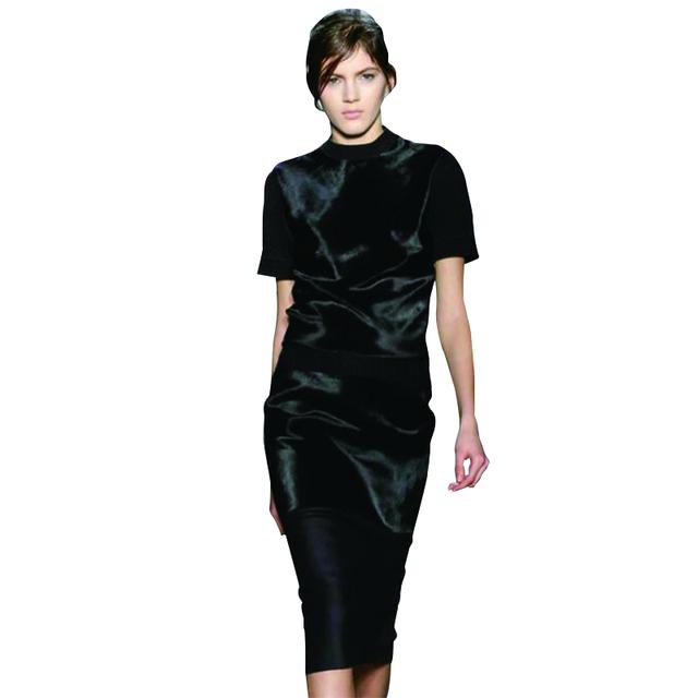 Alta Qualidade Victoria Beckham Vestido 2017 Pista Duas Peças Set Mulheres Patchwork Camisola De Malha Saia Roupas set NP-SAD162
