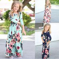 2018 New Fashion Kids Baby Girl Boho Floral Long Maxi Dress Clothing Full Sleeve Printed Children Evening Flower Girls Dresses