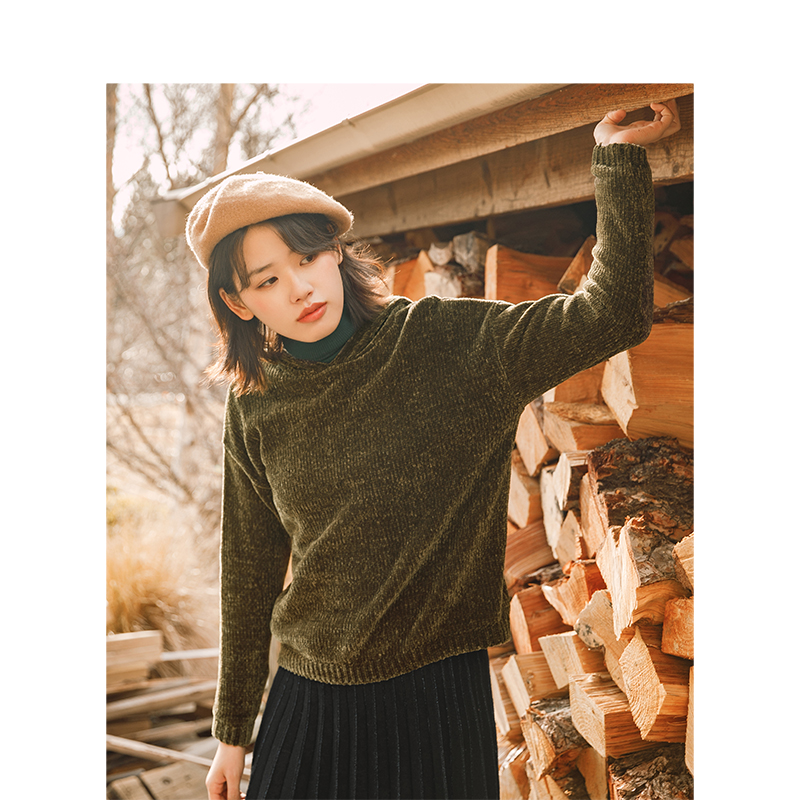 INMAN Winter New Arrival Female Hooded Fashion Off The Shoulder Lazy Style Women Pullover Sweater
