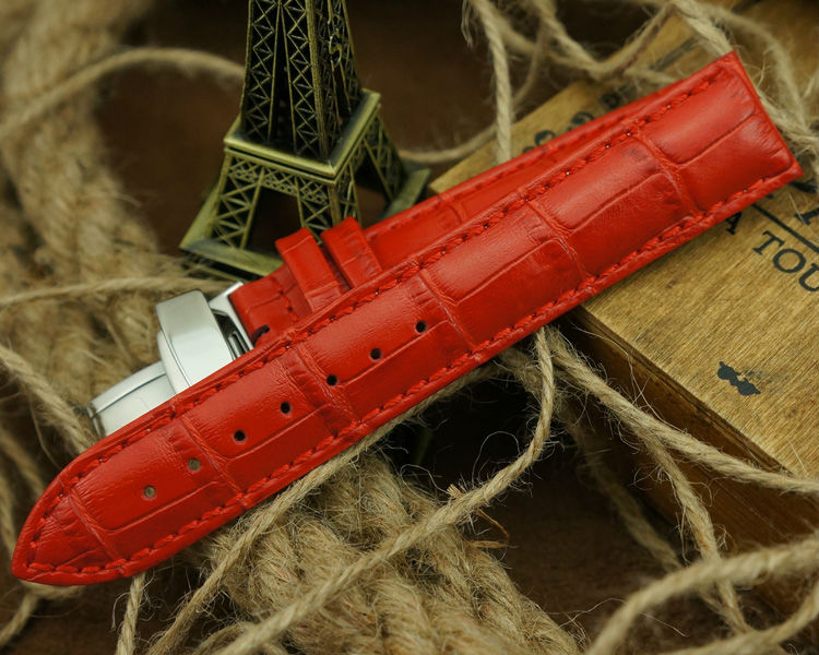 MAIKES Folding Buckle Watch Band 14mm 16mm 18mm 20mm 22mm Red Genuine Calf Leather Watch Strap For Women Quartz Watch in Watchbands from Watches