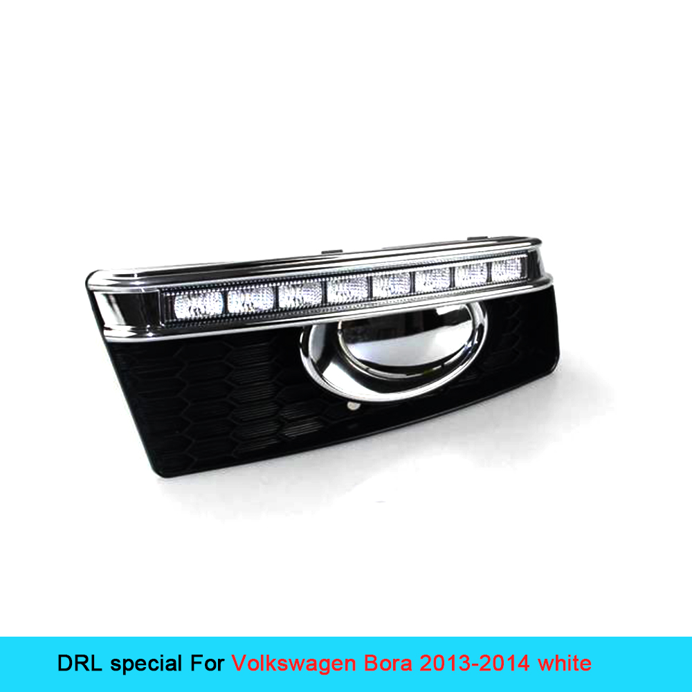Car DRL kit for VOLKSWAGEN BORA 2013 2014 LED Daytime Running Light bar Super bright fog auto lamp bulb Daylight VW car led drl car rear trunk security shield cargo cover for volkswagen vw tiguan 2016 2017 2018 high qualit black beige auto accessories