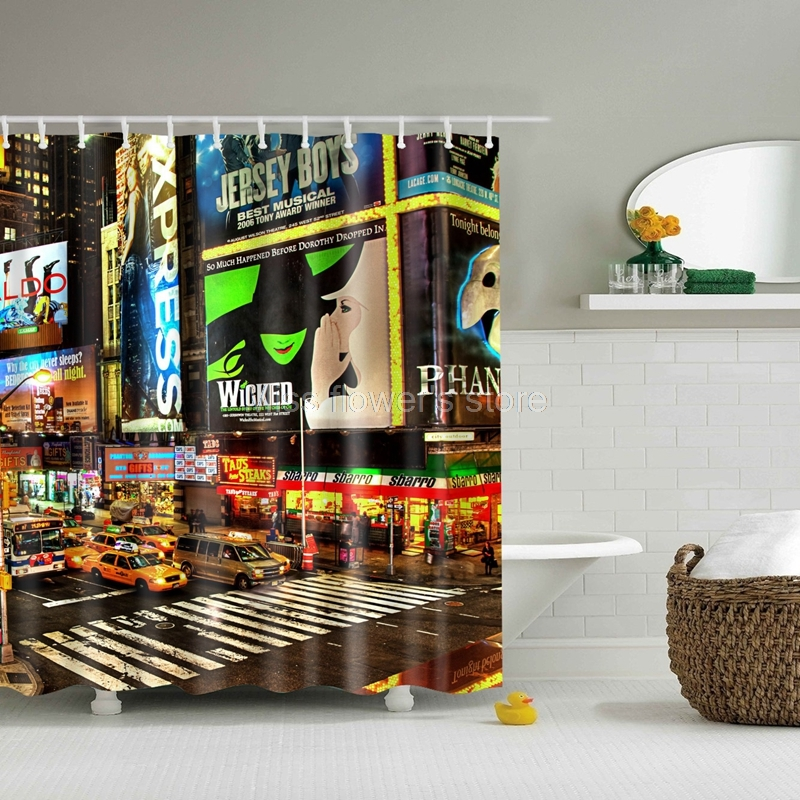 Hustle and bustle of the city Design Custom Shower Curtain Bathroom Waterproof Mildewproof Polyester Fabric With 12 Hooks ...