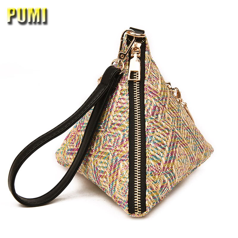Women's Straw Handbags Ladies Clutch Mini Phone Bag Female Small Shoulder Bag for Girls Messenger Bag Casual Beach Triangle Bags summer straw beach bag women circle ring handbags female string waterproof casual big tote ladies messenger bags for vocation
