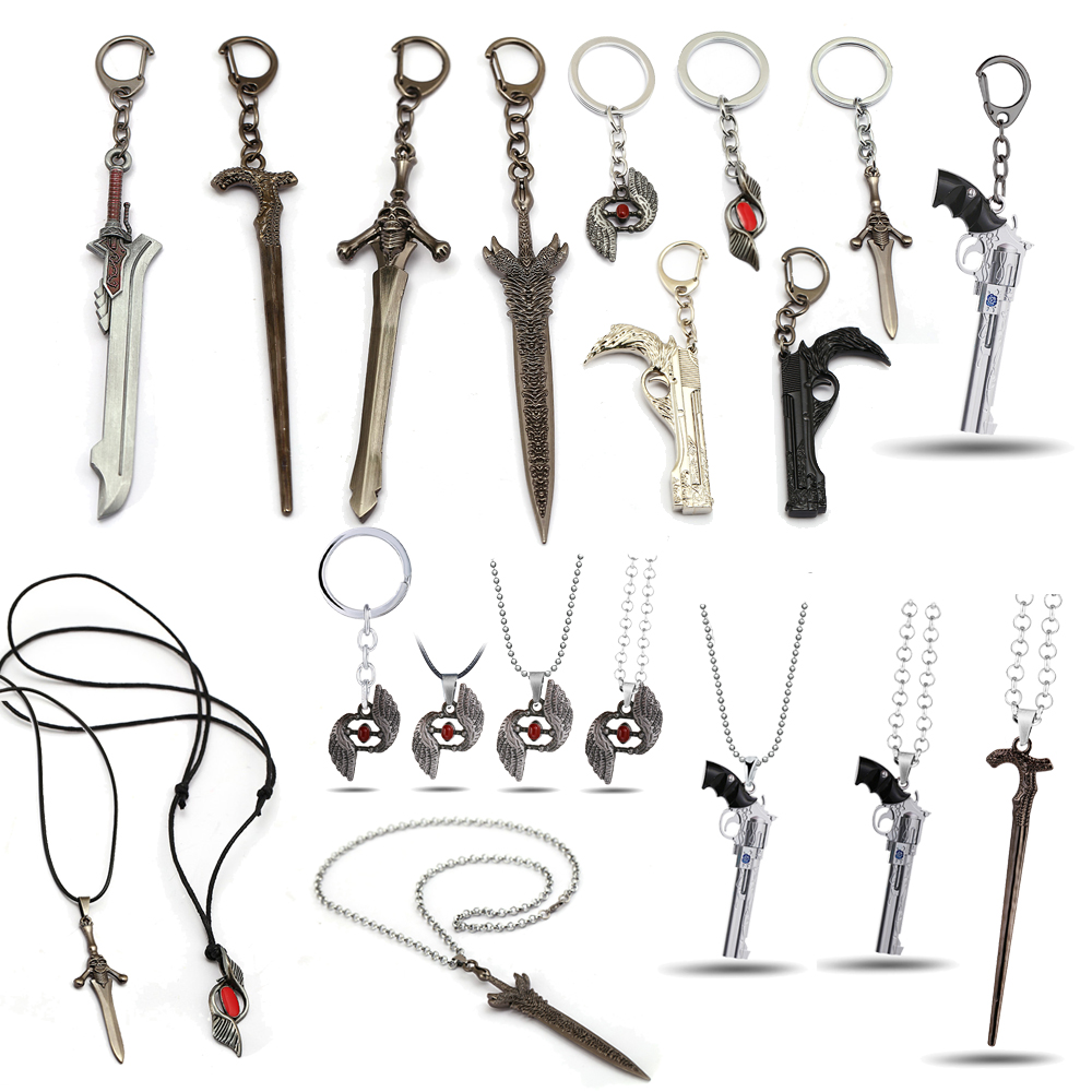 Game May Cry Keychain DMC 5 Dante Nero Rebellion Awakening Red Queen Pendant Metal Key Holder Demon Women Men Jewelry Llaveros