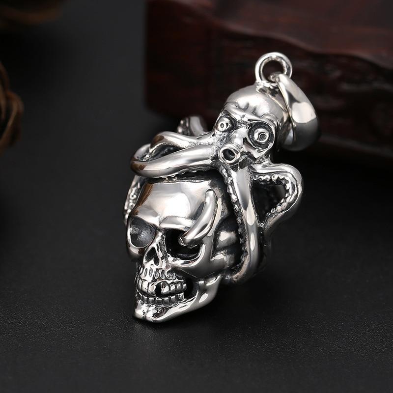 Véritable 925 en argent Sterling poulpe crâne Unique pendentifs fit colliers pour hommes femmes Vintage Cool squelette bijoux cadeaux d'anniversaire