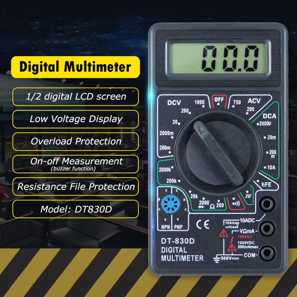 Hot Sale Digital Multimeter With Buzzer Voltage Ampere Meter Test Quality Transistor Checker Probe Dc Ac Lcd New Dt 830d