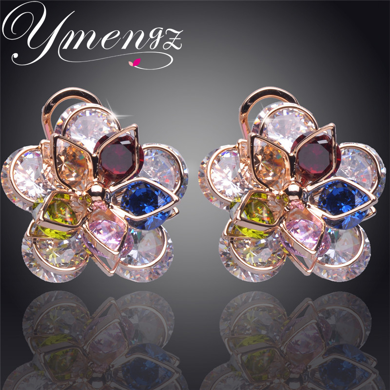 YMENG New Colorful Crystal Zircon Flower Gold Color Crystal Stud Earrings For Women Fashion Jewelry Free Shipping Wholesale