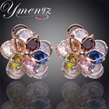 YMENG New Colorful Crystal Zircon Flower Gold Plated Crystal Stud Earrings For Women Fashion Jewelry Free Shipping Wholesale