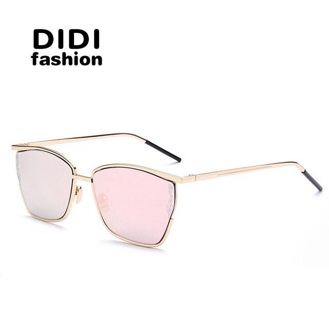 DIDI cool square sunglasses women italian eyewear brands Oversized metal half frame sun glasses mirror coating Oculos uv400 W685