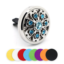 Trendy Diameter 38MM  Thickness 12MM Flower Stainless Steel Crystal Car Perfume Box Floating Charms Locket