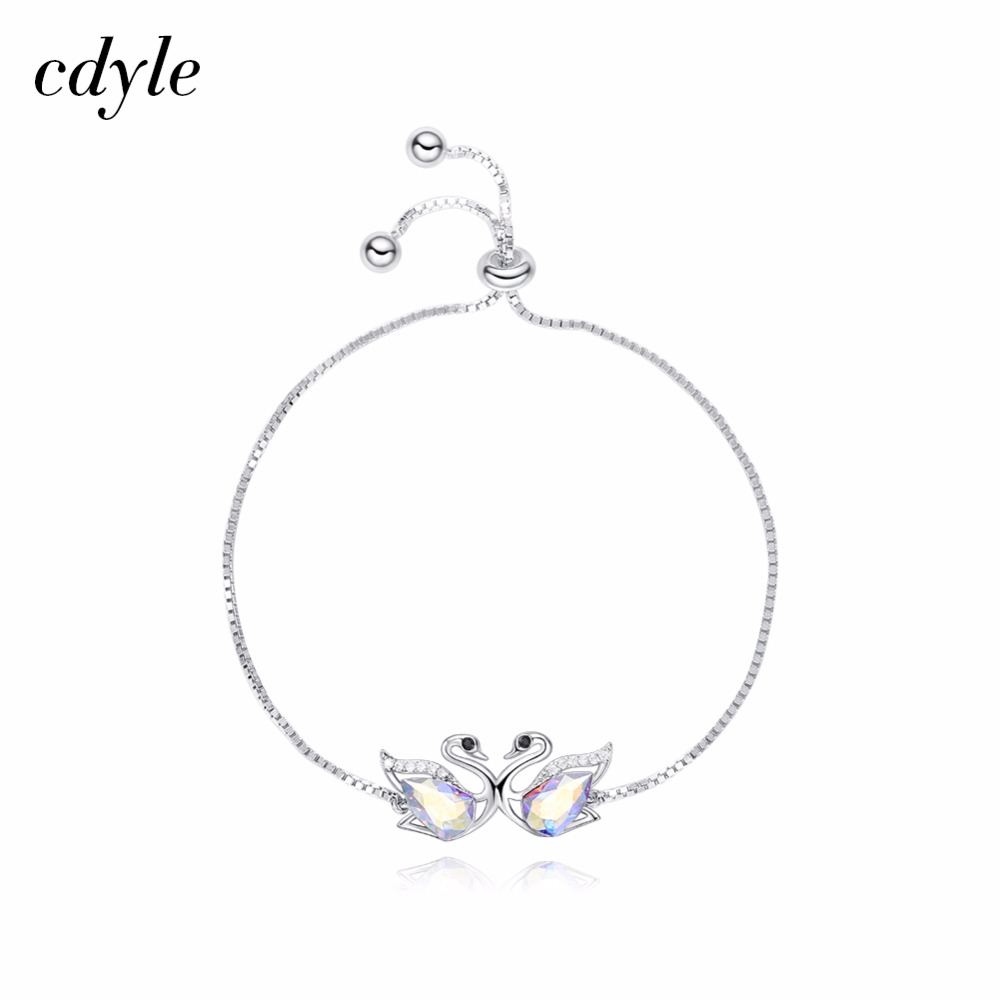 Cdyle Crystals from Swarovski S925 Sterling Silver Women Bracelet & Bangle Fashion Jewelry Austrian Rhinestone Couple Swan Love cdyle crystals from swarovski bracelets women bracelet for women bangle austrian rhinestone fashion jewelry original design
