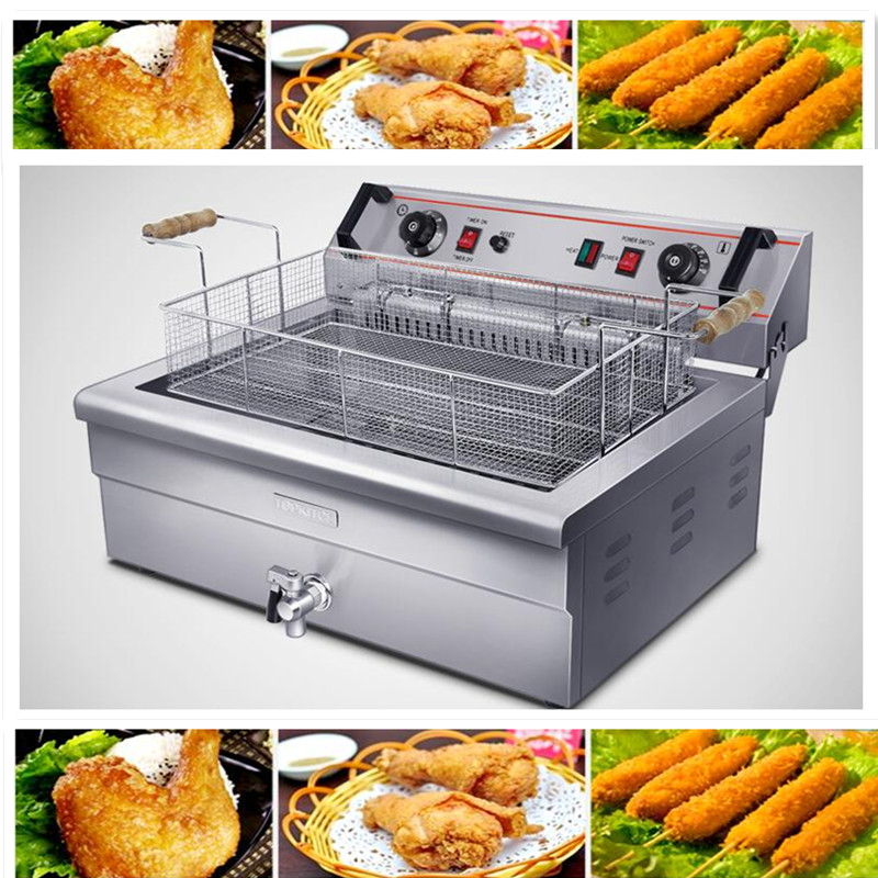 220V/4.8KW 20L Commercial Electric Deep Fryer Single Cylinder Machine With Timer French Fries Fried Chicken Large Capacity commercial double screen cylinder electric deep fryer french fries machine oven pot frying machine fried chicken row eu us plug
