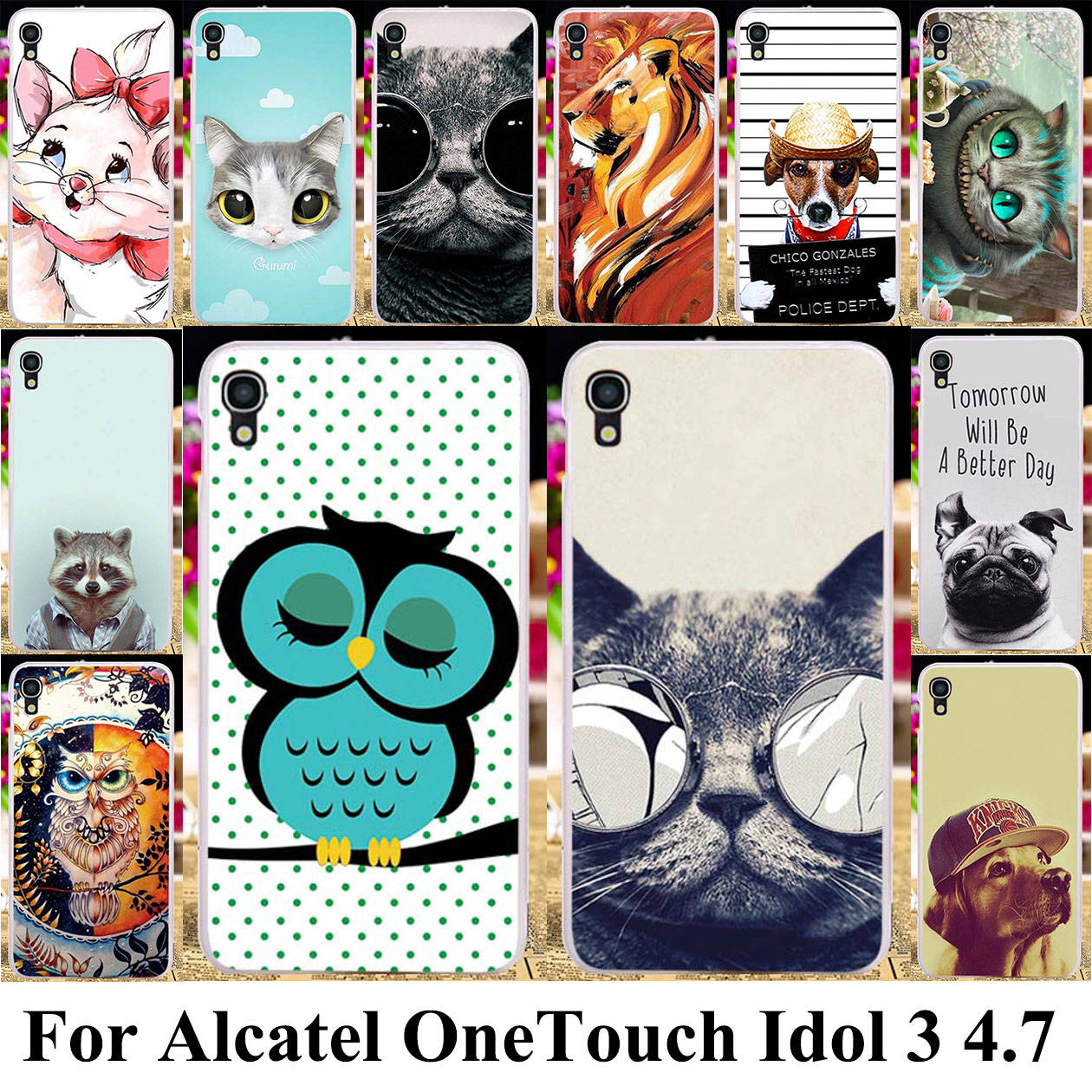 Taoyunxi Silicone Plastic Phone Case For Alcatel OneTouch Idol 3 4.7 inch 6039 Bag Cover Idol3 6039A 6039K 6039Y 6039J Cat Dog