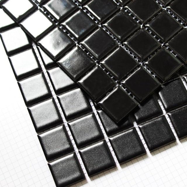Quadrat Schwarz Farbe Keramik Mosaik Fliesen Küche Backsplash Wand - Mosaik fliesen schwarz matt