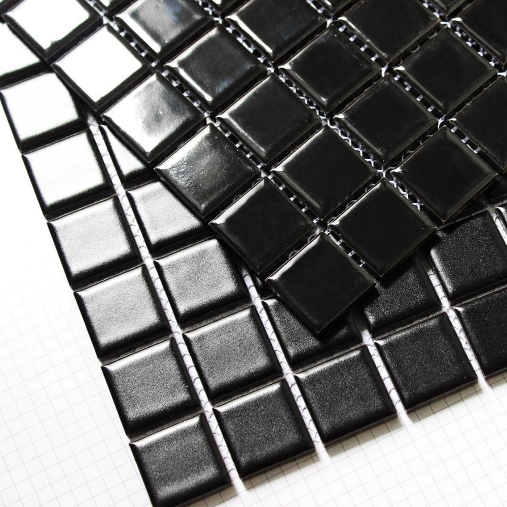 square black color ceramic mosaic tiles kitchen backsplash ...