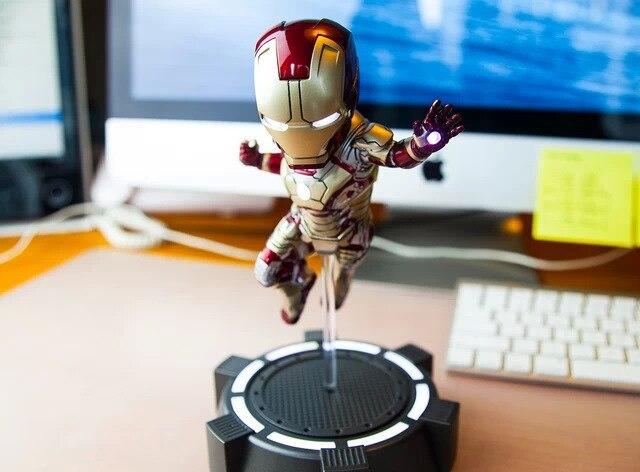 ФОТО iron man 3 marvel mk42 egg attack 18 cm led flash light eyes plat pvc action figures collection model toys dolls