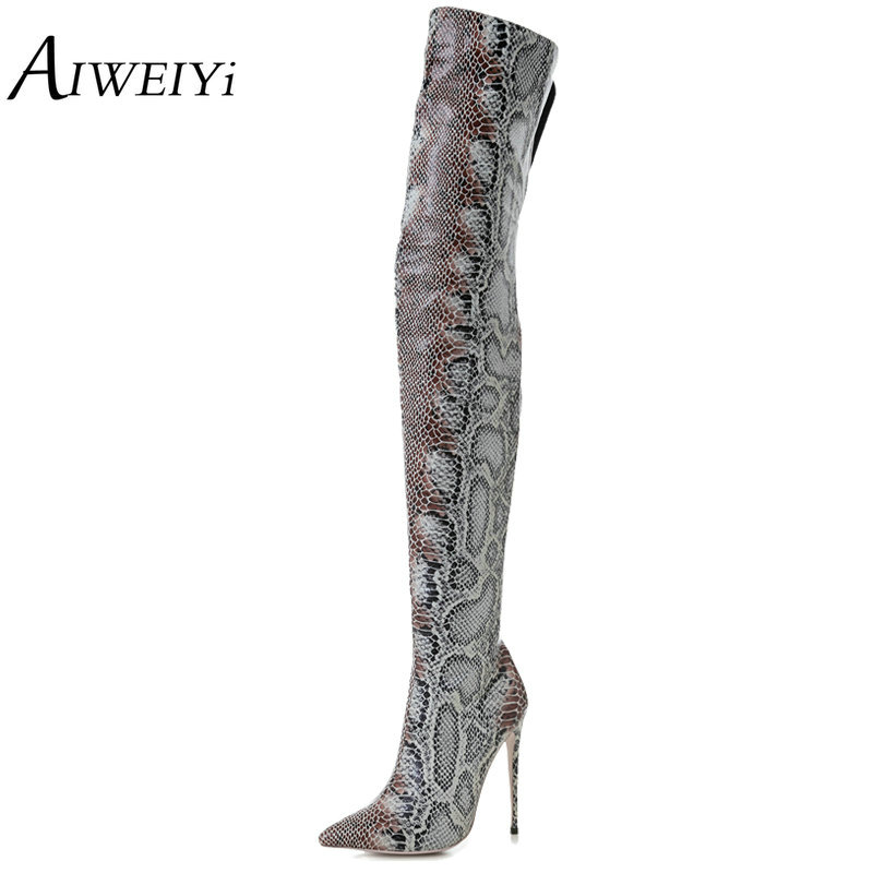 AIWEIYi Spring Autumn Woman Boots Over The Knee Thigh High Boots Snake Print Sexy High Heels Knee High Boots Motorcycle Boots