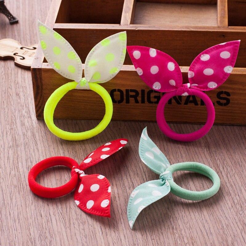 10 Pcs/lot Elastic Hair Band Cute Bunny Ear Headband  Ponytail Holder Rubber Bands Hair Accessoires Hair Rope Dropshipping