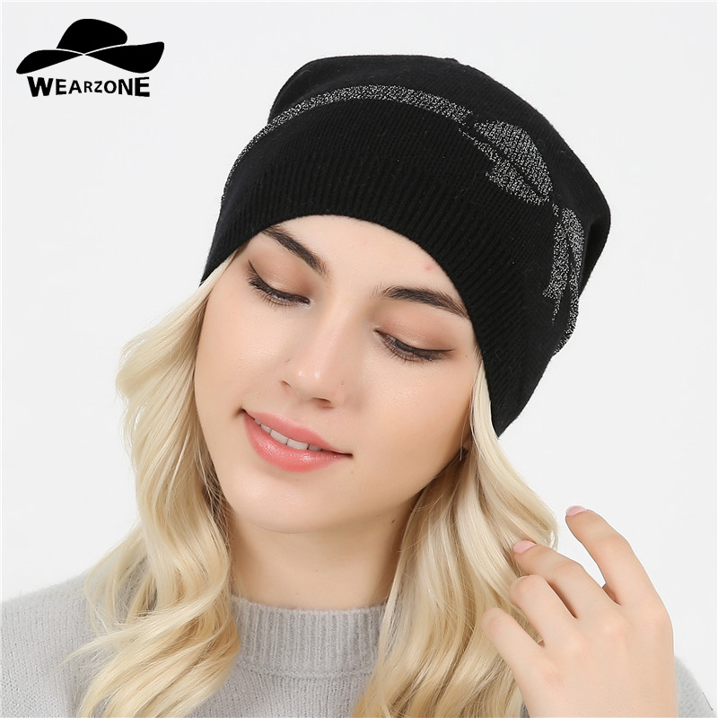 Female skullies beanies Fall Winter Hat For Women Wool Cap Knit Cord Bow Girl Brand New 2017 skullies