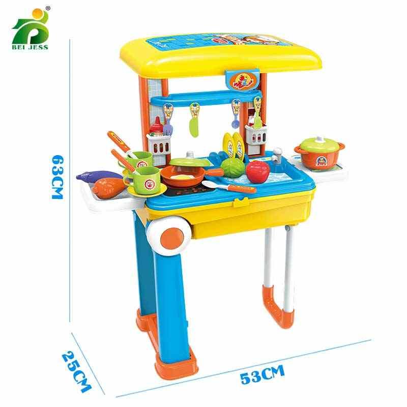 Кухня игрушка 2 в 1 чемодан ролевые игры Пластиковые фрукты еда ролевые игры моделирование резки набор для приготовления пищи Развивающие игрушки для детей