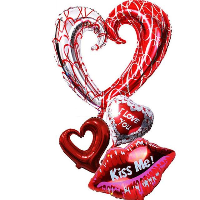 2017 New 4pcs Love Heart Foil Balloon I You Kiss Me Mylar Balloons For Engagement