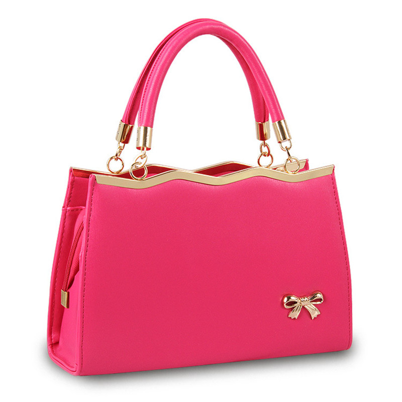 Fashion PU Women Handbag Shoulder Bag Office Lady Clutch Crossbody Candy Color Zipper Wave Bownot Decoration fashion soft pu office lady handbag shoulder bag women tote bucket bag crossbody messenger zipper