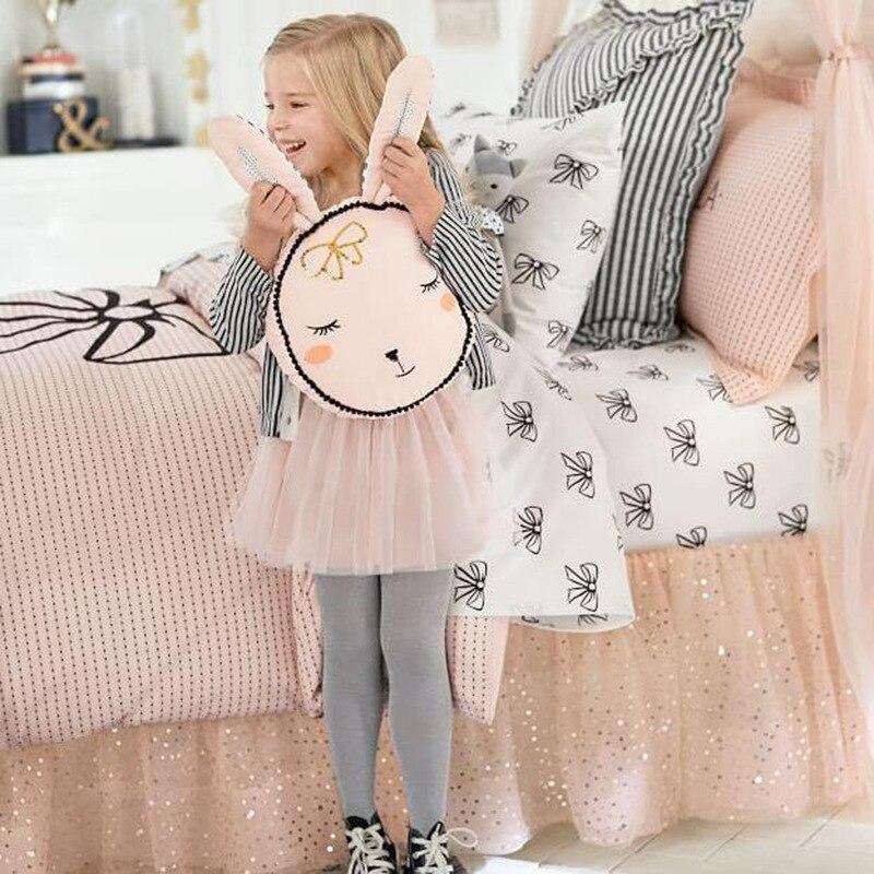Princess Pink Rabbit Baby Pillow Plush Toys Cute Children Baby Room Decorative Pillow Baby Sleeping Pillow Bunny Ear pillows