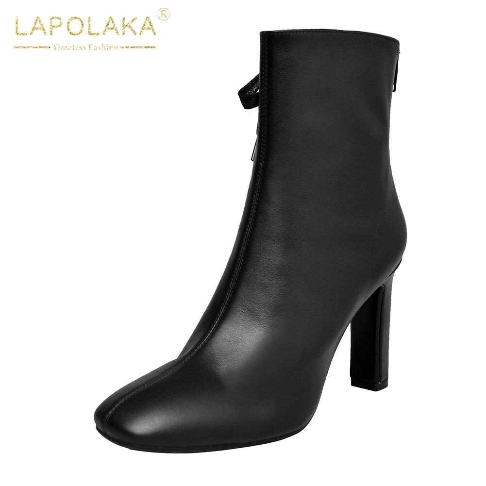 Zapatos Mujer 40 Zip Media 33 Negro Primavera Grande Tacones Otoño Lapolaka Up 2018 Cuero Talla Pantorrilla Botas De marrón Altos Genuino x6qO7TY