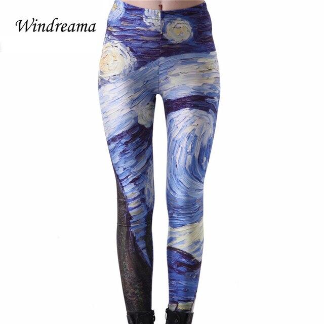 Windreama Women Universe Cloud Printed Leggings Plus size S-4XL Slim Sexy Pants Elastic Space Leggins Silk Girl