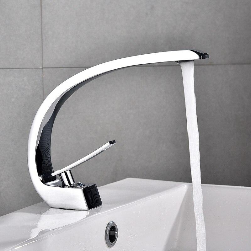 Robinet de lavabo en laiton chromé robinet brosse Nickel évier mélangeur robinet vanité eau chaude froide salle de bains robinets E