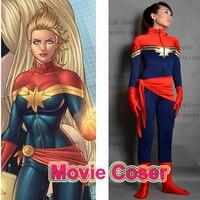 Movie Coser 5 High Quality Custom Made Super Hero Ms. Marvel Spandex Zentai Suit Ms. Marvel Costume