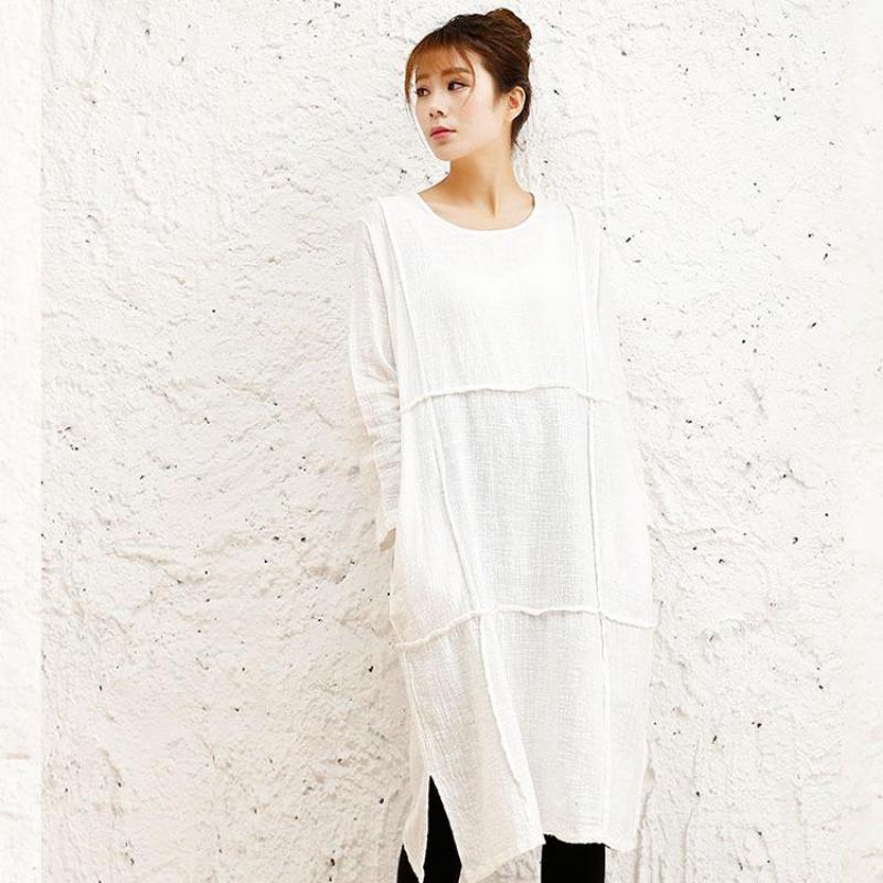 372902b2a7 2018 wiosna lato nowa sztuka oryginalny bawełna Slub pościel luźna sukienka  Mori dziewczyna z długim rękawem